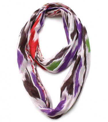 Purple Multi Ikat Printed Infinity Scarf