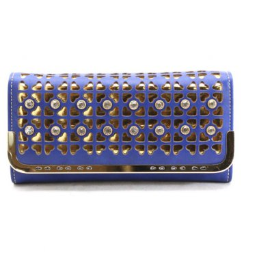 Blue & Gold Stone Cutout Wallet Clutch