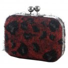 Red & Black Furry Leopard Box Clutch