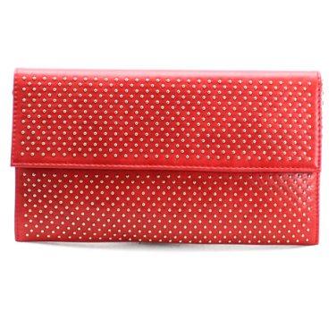 Red & Gold Studded Foldover Envelope Clutch