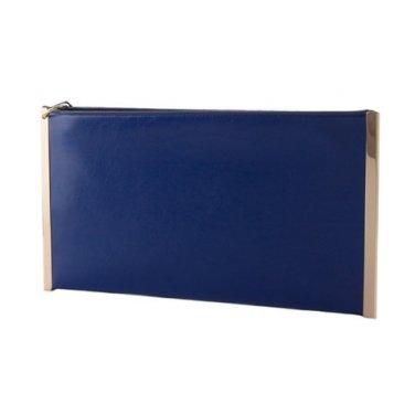 Blue & Gold Border Flat Wristlet Clutch