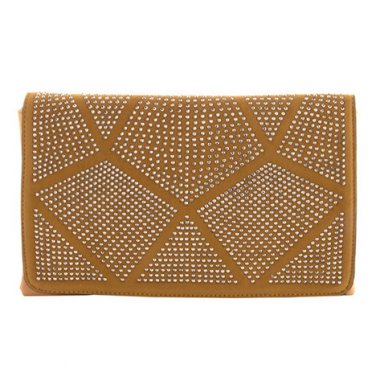 Brown Crystal Geometric Patch Clutch