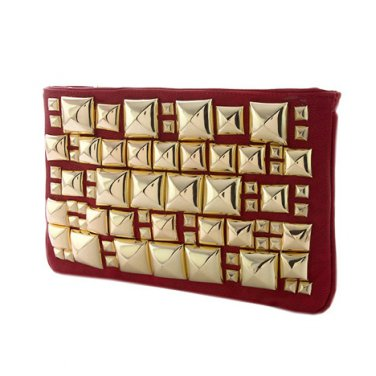 Red & Gold Multi Pyramid Stud Clutch