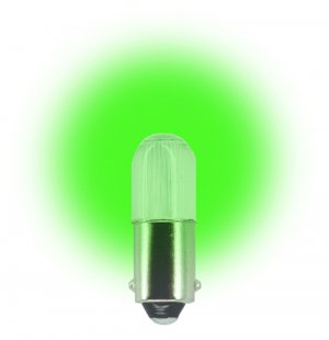 (Pack of 2) 24 Volt.T3 ¼ Miniature Bayonet (BA9s) LED Light Bulb Color Green #L1024MB-G