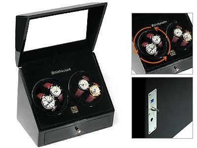 Steinhausen Quad Automatic Watch Winder (Black) # TM 384