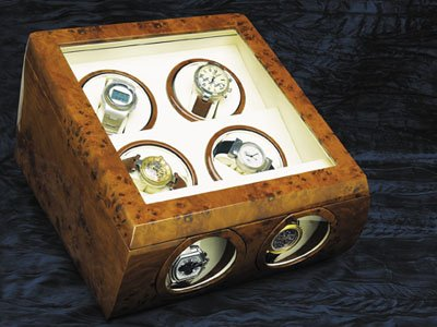 Steinhausen Quad Watch Winder (Burl-wood) # TM 481