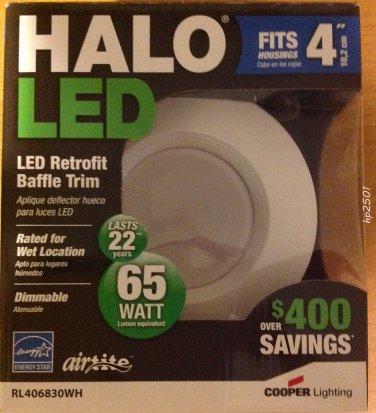 "Qty 4- HALO RL460WH830 LED RECESSED LIGHTING 4"" WHITE 600 LUMENS 13.7W"