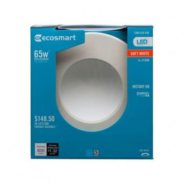 EcoSmart 65W Soft White (2700K) Dimmable LED Indirect Recessed Light
