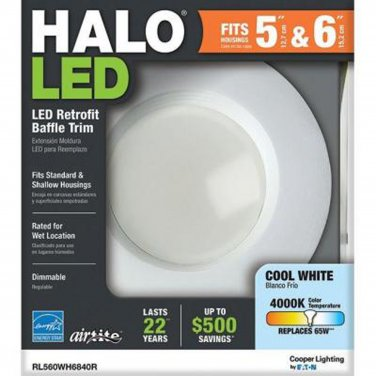 4 Pack - Halo 5 in. and 6 in. Matte White Recessed Retrofit Baffle-Trim LED Module 80 CRI, 4000K