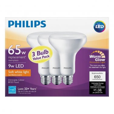 Qty 3 (1x3 Pack) - Philips WarmGlow 65W Eq Soft White (2700K) BR30 Dimmable LED Flood New