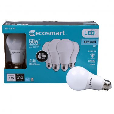 Qty 4 (1x4Pack) - EcoSmart 60W Daylight A19 Energy Star + Dimmable LED Light Bulb