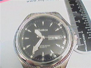 DAY DATE BLACK DIAL ARMITRON 165FT QUARTZ WATCH RUNS