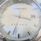 UNUSUAL CHROME AZZARO DATE QUARTZ WATCH RUNS