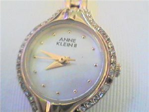 STONED BEZEL ANNE KLEIN II LADIES QUARTZ WATCH RUNS