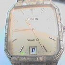 UNUSUAL BAND AUSTIN QUARTZ SQUARE DATE AT 6 WATCH RUNS