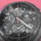 RARE BLACK DIAL TIMEX CHRONOGRAPH RUNS NEEDS BAND PIN