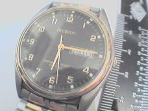 BLACK DIAL ARMITRON DAY DATE JAPAN QUARTZ WATCH RUNS