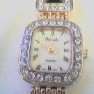 UNUSUAL MEGA STONED LADIES XANADU QUARTZ WATCH RUNS