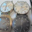LOT OF 4 VINTAGE WINDUP WATCHES INCA WALT HELB 4U2FIX