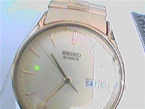 Plain seiko quartz day date watch