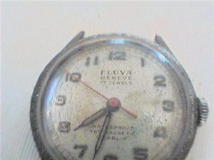 OLD FLUVA GENEVE 17 JEWEL WATCH RUNS 4U2FIX LUGS