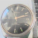 VINTAGE BLACK DIAL DATE TIMEX WINDUP WATCH RUNS