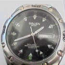 UNUSUAL BLACKDIAL GRUEN DAY DATE 100FT WR QUARTZ WATCH