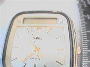 UNUSUAL DUAL ANALOG LCD TIMEX CHRONO SQUARE WATCH 4FIX