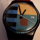 1987 COLORFUL DIAL DATE SWATCH WATCH RUNS 4U2FIX BAND
