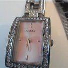 UNUSUAL PINK DIAL STONED BEZEL BAND GUESS LADY WATCH