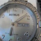 GOOD BENRUS 100FT WR DAY DATE JAPAN QUARTZ WATCH RUNS