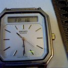 VINTAGE H357-5170 SEIKO DUAL ANALOG SQUARE WATCH RUNS