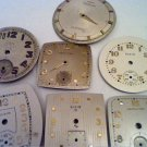 LOT OF 7 HAMILTON ELGIN WALTHAM WATCH DIALS 4U2FIX