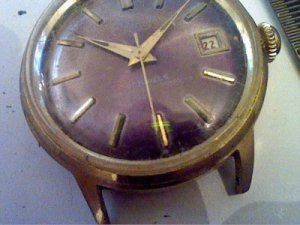 UNUSUAL PURPLE DIAL 21 JEWEL ELDORADO DATE WATCH RUNS