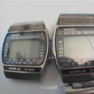 LOT OF 2 VINTAGE 70'S SEIKO WORLD TIME LCD WATCH 4U2FIX