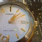 HEAVY FOSSIL ARKITEKT DATE QUARTZ WATCH RUNS 4U2FIX BAN
