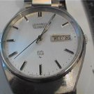 VINTAGE STEEL SEIKO 7123 DAY DATE QUARTZ WATCH RUNS
