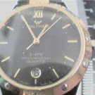 UNUSUAL BLACK AND GOLD DIAL WALTHAM QUARTZ DATE@6 WATCH