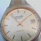 VINTAGE STEEL CASE GRUEN DATE SWISS QUARTZ WATCH 4U2FIX