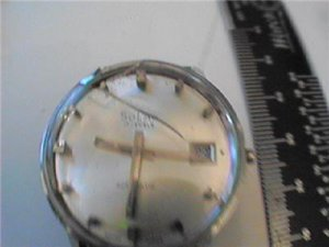 UNIQUE SOLAR 17J AUTO DATE WATCH RUNS 4U2FIX STEM CROWN AND GLASS