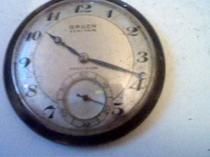 VINTAGE GRUEN VERI THIN 17 JEWEL POCKET WATCH 4U2FIX MISSING BACK BROKE BALANCE