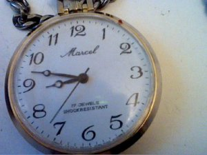 VINTAGE 17 JEWEL MARCEL POCKETWATCH WITH CHAIN RUNS VERY GOOD