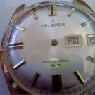 VINTAGE DAY DATE HELBROS AUTO WATCH RUNS 4U2FIX STEM