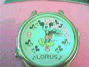 FUNNY LORUS MUSICAL MICKEY MOUSE QUARTZ WATCH RUNS