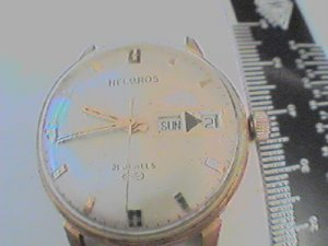 VINTAGE 21 JEWEL HELBROS DAYDATE WATCH RUNS 4U2FIX DATE