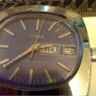 UNUSUAL PURPLE DIAL DAY DATE TIMEX WINDUP WATCH RUNS