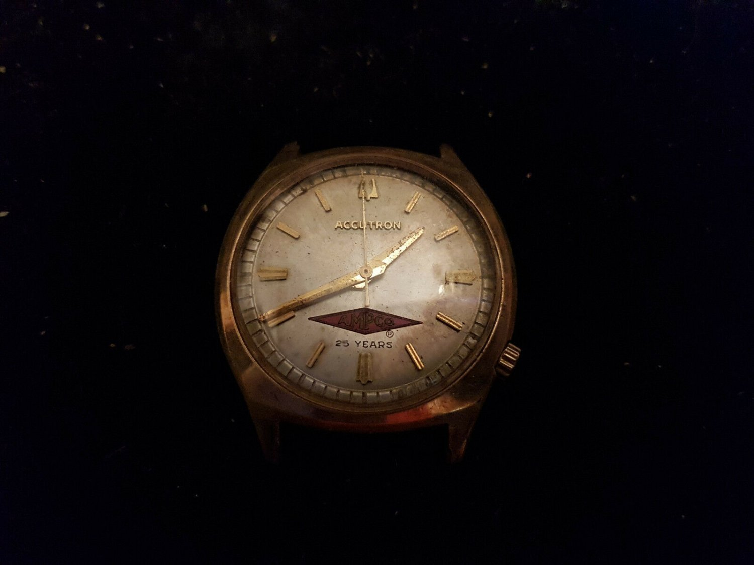 822270c24 VINTAGE 1975 ELECTROPLATED BULOVA 218 ACCUTRON WATCH FOR REPAIR OR PARTS
