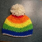 Rainbow Pom Pom Hat