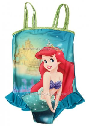 Kids Girls Princess Ariel Mermaid One-Piece Swimsuit  Swimming Costume Tankini Swimwear 2-9 Years