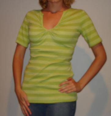 NEW HOT GINGER green striped v-neck shirt top sz S, M, L
